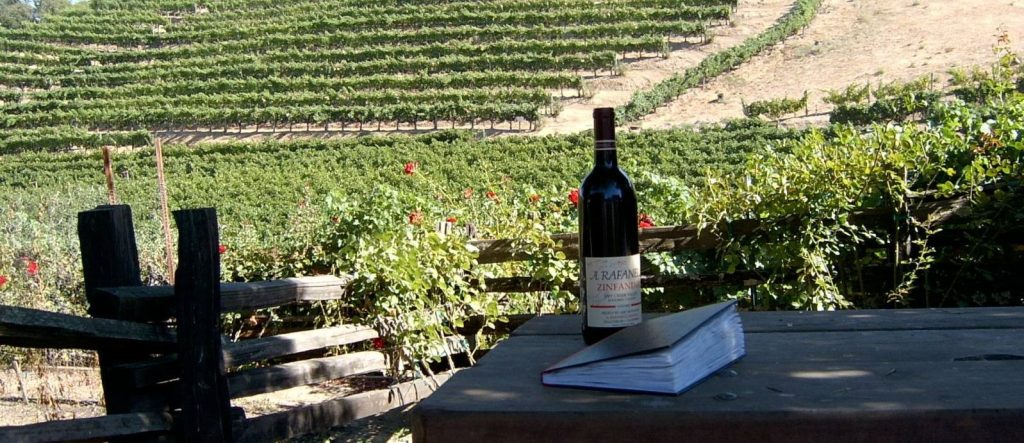 Book 1 photographed by the vineyards at A. Rafanelli in Dry Creek Sonoma, 2004