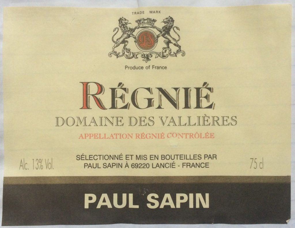 Sapin Regnie Beaujolais 1997