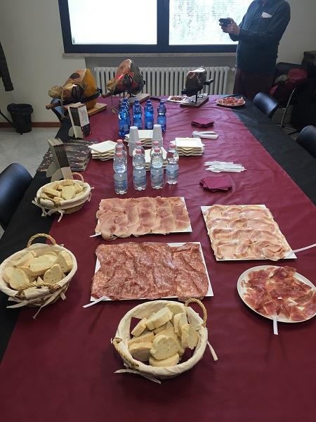 Piacenti ham and Prosciutto Toscano tasting