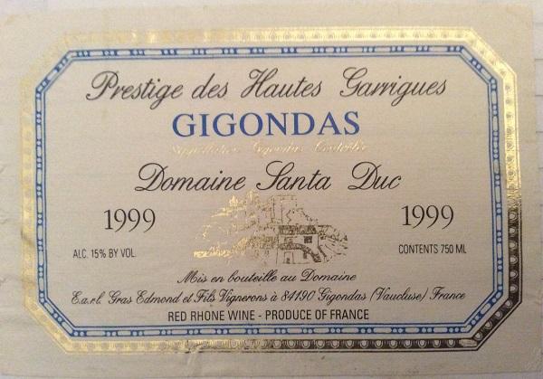 Domaine Santa Duc Prestige des Hautes-Garrigues 1999