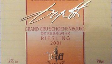 196. Dopff au Moulin, Riesling Grand Cru Schoenenbourg de Riquewihr Alsace, 2001