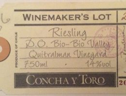 272. Concha y Toro, Riesling Winemaker's Lot 20 Quitralman Vineyard Bio-Bio Valley, 2003