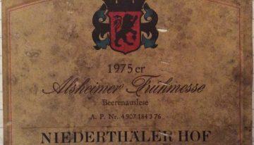 354. Niederthäler Hof, Alsheimer Frühmesse Beerenauslese Nahe, 1975