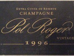 355. Champagne Pol Roger, Extra Cuvée de Réserve Vintage, 1996