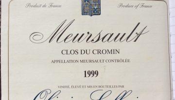 409. Olivier Leflaive, Meursault Clos du Cromin, 1999