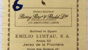 416. Emilio Lustau for Berry Bros, Manzanilla Pasada de Sanlúcar 1/80 Manuel Cuevas Jurado Solera, NV