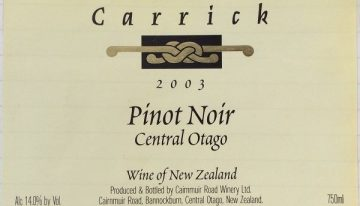 434. Carrick, Pinot Noir Central Otago, 2003