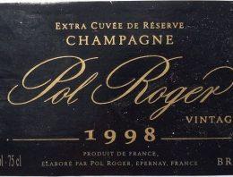 453. Champagne Pol Roger, Extra Cuvée de Réserve Vintage, 1998