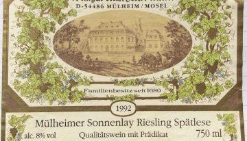 470. Max Ferdinand Richter, Mülheimer Sonnenlay Riesling Spätlese Mosel-Saar-Ruwer, 1992