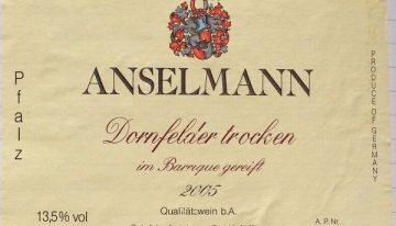 479. Anselmann, Dornfelder Trocken Pfalz, 2005