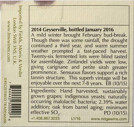 Ridge Vineyards Geyserville back label