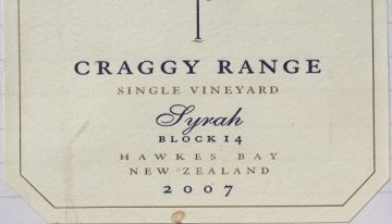 515. Craggy Range, Single Vineyard Syrah Block 14 Gimblett Gravels Hawke's Bay, 2007