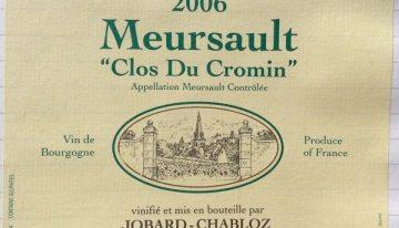 552. Jobard-Chabloz, Meursault Clos du Cromin, 2006