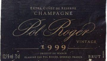 558. Champagne Pol Roger, Extra Cuvée de Réserve Vintage, 1999
