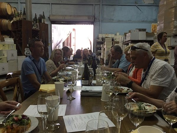 Au Bon Climat winery lunch tables