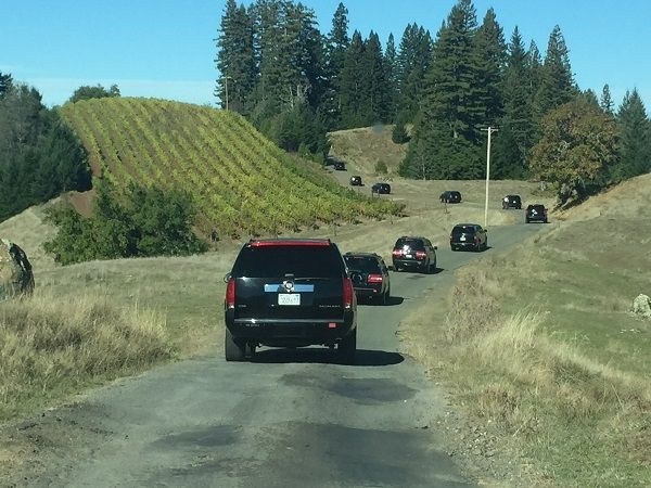 Presidential-style motorcade to Hirsch Vineyards