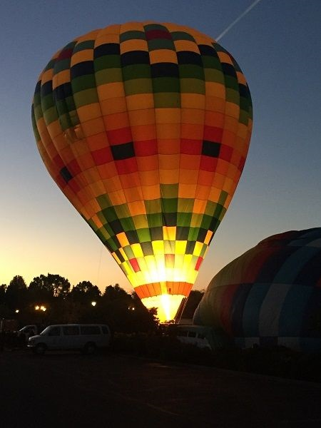 Napa Valley hot air balloon inflation