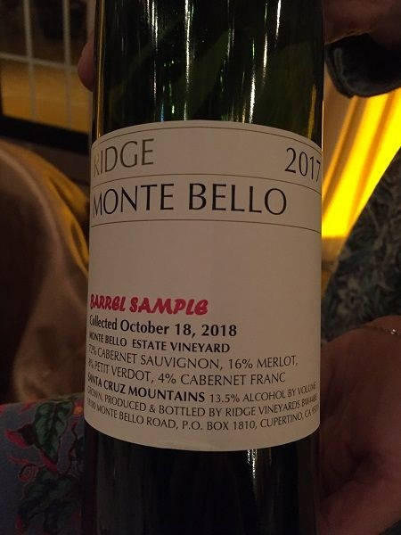 Ridge Monte Bello red blend 2017