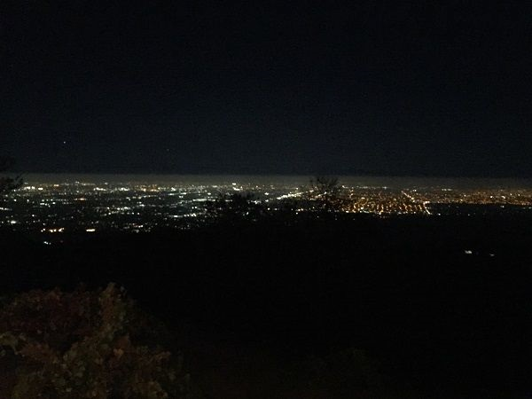 Silicon Valley by night from Santa Cruz Mountains