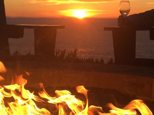 Timber Cove fire pit sunset