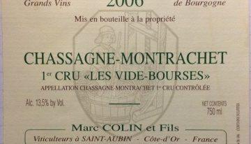 """571. Marc Colin, Chassagne-Montrachet 1er Cru """"Les Vide-Bourses"""", 2006"""