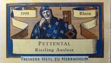604. Freiherr Heyl zu Herrnsheim, Nierstein Pettental Riesling Auslese Rheinhessen, 1999