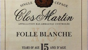 637. Clos Martin, Bas-Armagnac XO Folle Blanche Single Cépage 15 Years of Age, NV