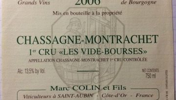 """656. Marc Colin, Chassagne-Montrachet 1er Cru """"Les Vide-Bourses"""", 2006"""
