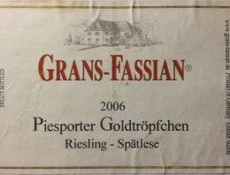 688. Grans-Fassian, Piesporter Goldtröpfchen Riesling Spätlese Mosel-Saar-Ruwer, 2006