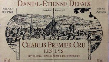 722. Daniel-Etienne Defaix, Domaine du Vieux Château Chablis 1er Cru Les Lys, 2000