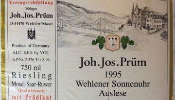 759. Joh. Jos. Prüm, Wehlener Sonnenuhr Riesling Auslese Mosel-Saar-Ruwer, 1995