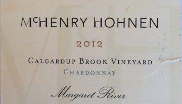 929. McHenry Hohnen, Calgardup Brook Vineyard Chardonnay Margaret River Western Australia, 2012